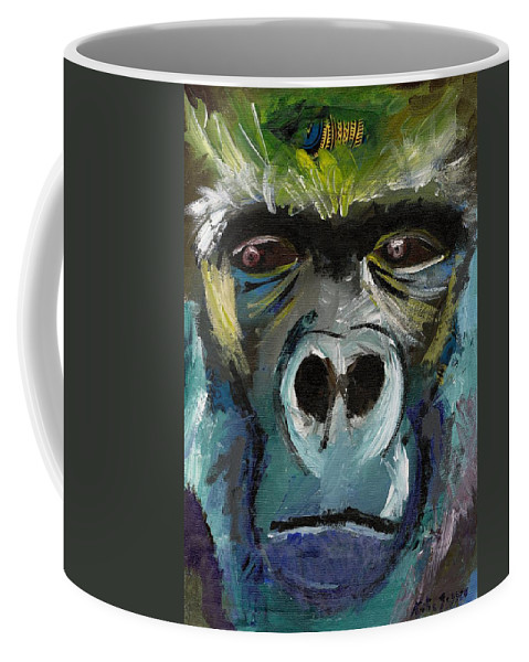 Gorilla Coffee Mug featuring the painting Mysterious Gorilla by Katie Sasser