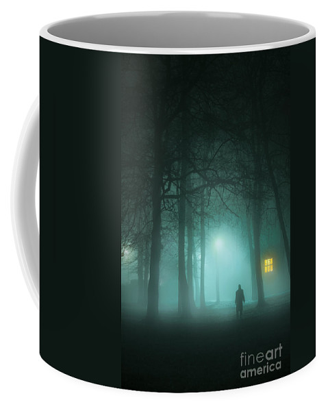 Man Coffee Mug featuring the photograph Mysterious Man In Fog With House And Window Light by Lee Avison