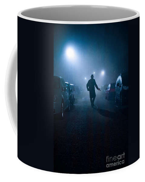 Gunman Coffee Mug featuring the photograph Mysterious Man With Pistol At Night In Fog by Lee Avison