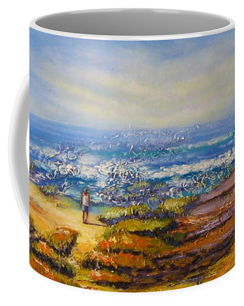 Rocks Coffee Mug featuring the painting Mysterious Ocean Beach Rocks by Diane Quee