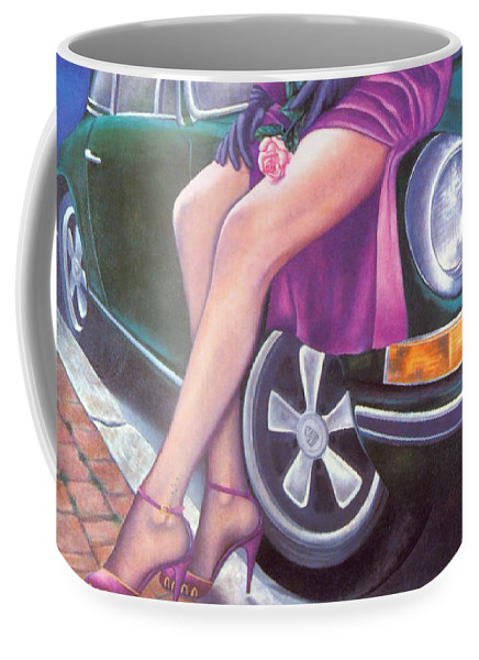 Feminine Coffee Mug featuring the painting Mystery On Peter's Porsche by Mary Ann Leitch
