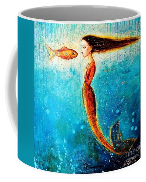 Mermaid Art Coffee Mug featuring the painting Mystic Mermaid II by Shijun Munns