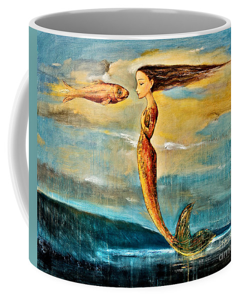 Mermaid Art Coffee Mug featuring the painting Mystic Mermaid IIi by Shijun Munns