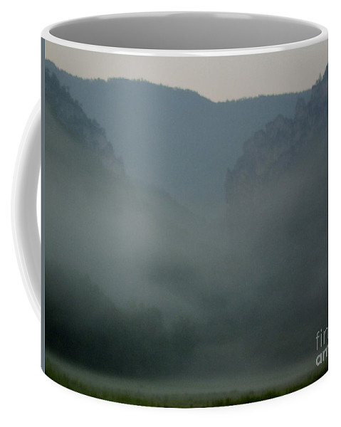 Appalachian Mountain Mist West Virginia Mountain Morning Fog Mystic Mountains Seneca Rocks Range Wilderness Landscapes Natural Landscapes Wild Places Mountain Forest Fog Misty Wall Art Tranquil Images Peaceful Prints Wall Art In Nature Natural Design Super Natural Landscapes Ominous Appalachian Mountain Holler Mountain Cove Morning Mist Fogscapes Foggy Landscapes Coffee Mug featuring the photograph Mystic Mountains by Joshua Bales