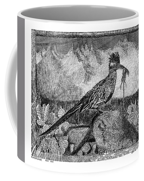 A Jack Pumphrey Pen & Ink Drawing Of Hungry Roadrunner Coffee Mug featuring the drawing Roadrunner Beep Beep Beep by Jack Pumphrey