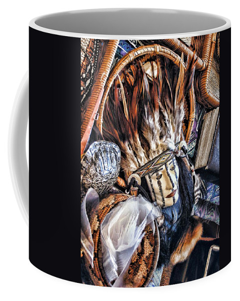 Native American Coffee Mug featuring the photograph Naive American Mask by Shannon Story