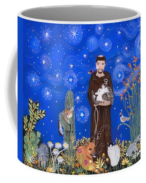 Sue Betanzos Coffee Mug featuring the painting Nancy's St. Francis by Sue Betanzos