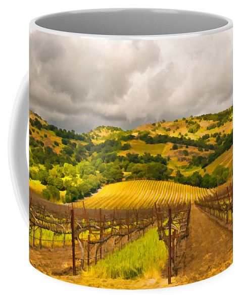 Napa Valley Coffee Mug featuring the digital art Napa Vineyard by Mick Burkey