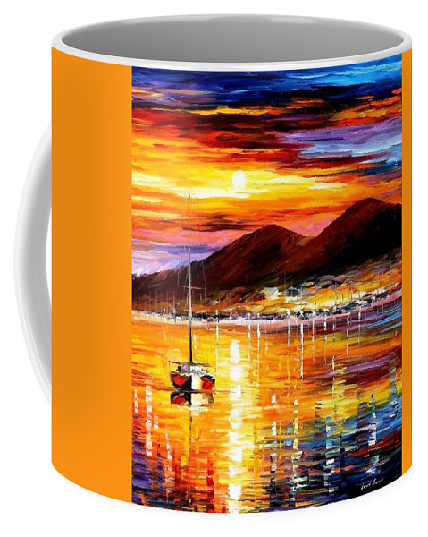 Art Gallery Coffee Mug featuring the painting Naples-sunset Above Vesuvius - Palette Knife Oil Painting On Canvas By Leonid Afremov by Leonid Afremov