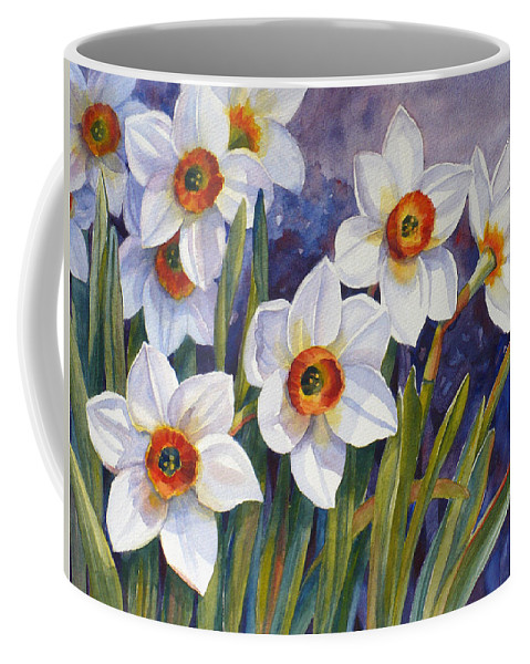 Narcissus Print Coffee Mug featuring the painting Narcissus Daffodil Flowers by Janet Zeh