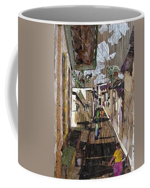 Street Scene Coffee Mug featuring the mixed media Narrow street by Basant Soni