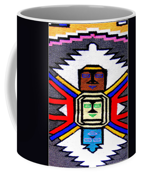 Indian Coffee Mug featuring the photograph Native American Grey White Quilt Detail by Dora Sofia Caputo Photographic Design and Fine Art