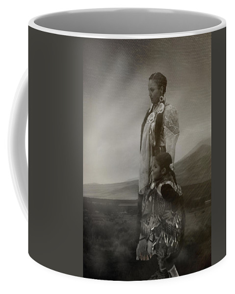 Native American Coffee Mug featuring the photograph Native American Two Woman Bw by Karen W Meyer