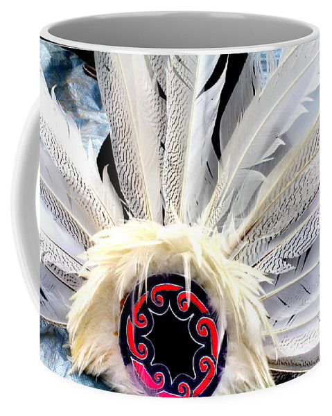 Indian Coffee Mug featuring the photograph Native American White Feathers Headdress by Dora Sofia Caputo Photographic Design and Fine Art