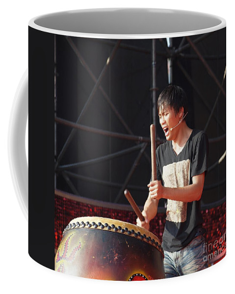 Drum Coffee Mug featuring the photograph Native Drummer Performs In Taiwan by Yali Shi