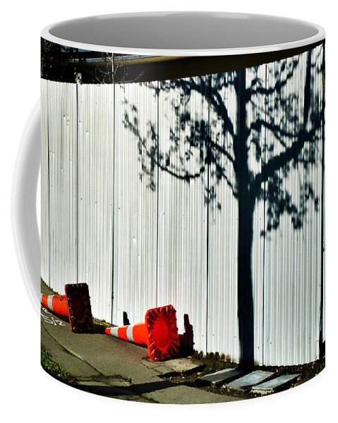 Road; Safety; Cone; Bollard; Shadow; Corrugated; Iron; Fence; Tree; Tag; Graffiti Coffee Mug featuring the photograph Nature Goes Tagging by Steve Taylor