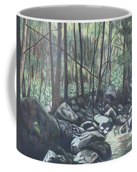 Cascades Drawing Coffee Mug featuring the drawing Near The Cascades Again by Kendall Kessler
