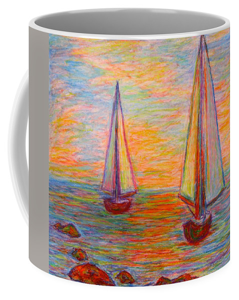 Boats Coffee Mug featuring the painting Nearing The Shoals by Kendall Kessler