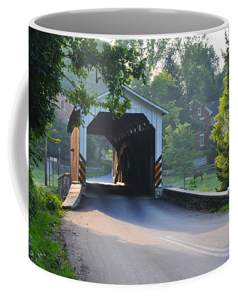 Neff's Coffee Mug featuring the photograph Neff's Mill Covered Bridge Lancaster County by Bill Cannon