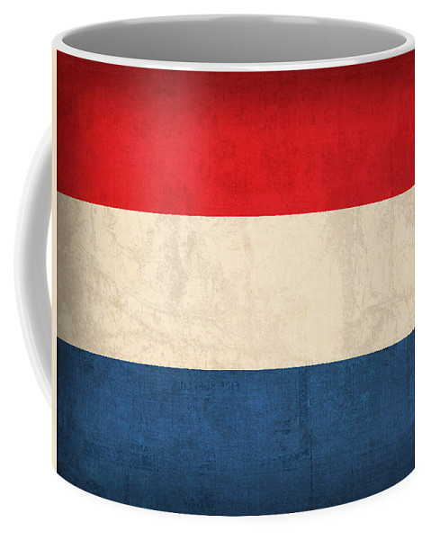Netherlands Flag Vintage Distressed Finish Holland Europe Country Nation Dutch Coffee Mug featuring the mixed media Netherlands Flag Vintage Distressed Finish by Design Turnpike