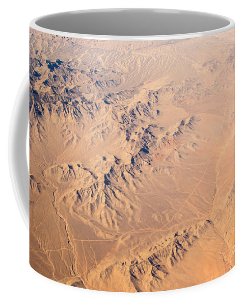 Abstract Earth Coffee Mug featuring the photograph Nevada Mountains Aerial View by Alanna DPhoto