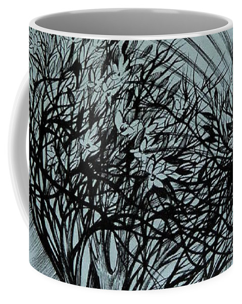 Pen And Ink Coffee Mug featuring the drawing New Day by Anna Duyunova