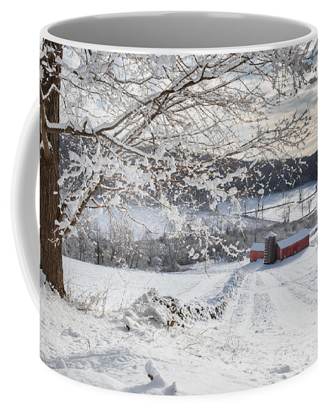 Barns Coffee Mug featuring the photograph New England Winter Farms by Bill Wakeley