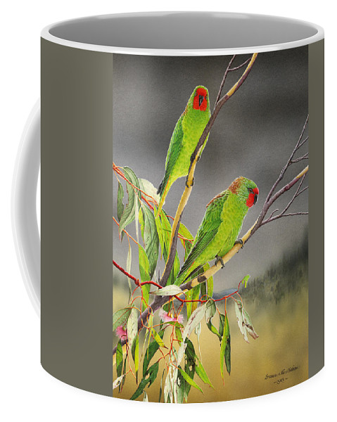 Little Lorikeet Coffee Mug featuring the painting New Life - Little Lorikeets by Frances McMahon