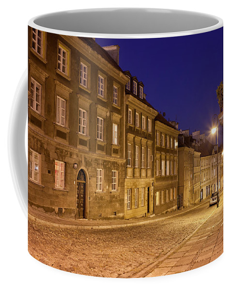 Apartment Coffee Mug featuring the photograph New Town Street And Houses At Night In Warsaw by Artur Bogacki