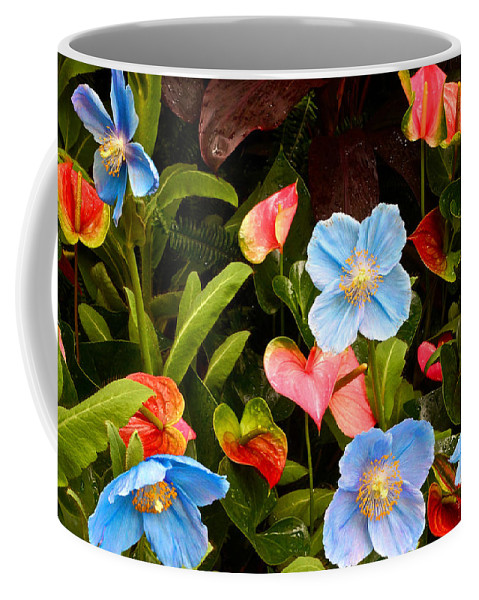 Meconopsis Betonicifolia Coffee Mug featuring the photograph New World And Old World Exotic Flowers by Byron Varvarigos