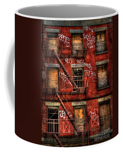 Abandoned Coffee Mug featuring the photograph New York City Graffiti Building by Amy Cicconi