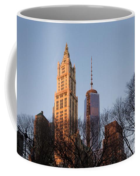 Through Trees Coffee Mug featuring the photograph New York City Skyline Through The Trees by Georgia Mizuleva