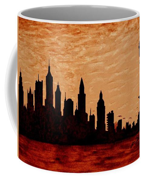 New York City Coffee Mug featuring the painting New York City Sunset Silhouette by Georgeta Blanaru