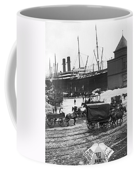 1900s Coffee Mug featuring the photograph New York City Waterfront by Underwood Archives