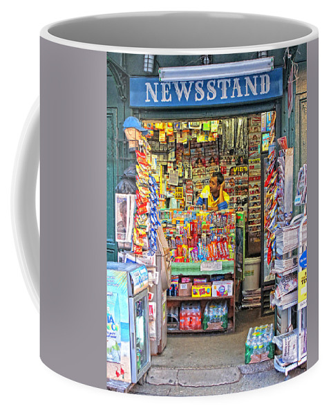 New York City Coffee Mug featuring the photograph New York Newsstand by Dave Mills
