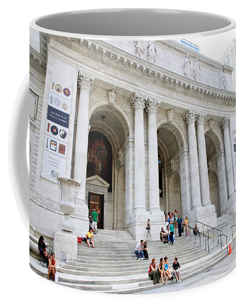 New Coffee Mug featuring the photograph New York Public Library by Valentino Visentini