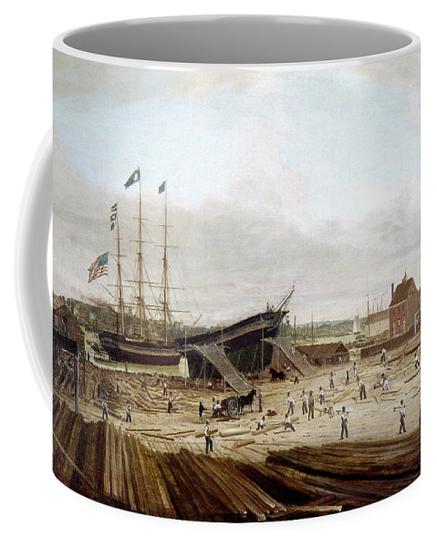 1833 Coffee Mug featuring the painting New York Shipyard, 1833 by Granger