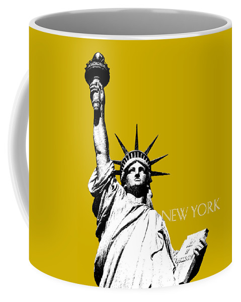 Architecture Coffee Mug featuring the digital art New York Skyline Statue of Liberty - Gold by DB Artist
