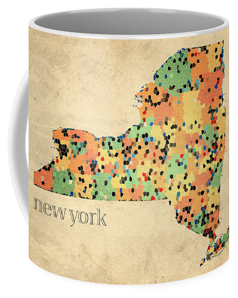 New York Coffee Mug featuring the mixed media New York State Map Crystalized Counties on Worn Canvas by Design Turnpike by Design Turnpike