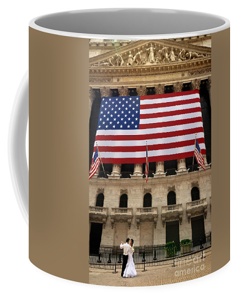 American Dream Coffee Mug featuring the photograph New York Stock Exchange Bride And Groom Dancing by Amy Cicconi
