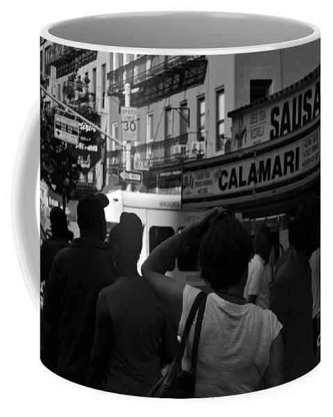 New York Coffee Mug featuring the photograph New York Street Fair - Black And White by Miriam Danar