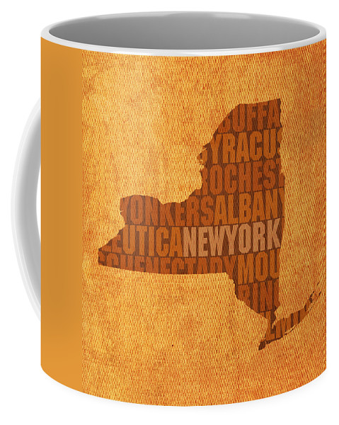 New York Word Art State Map On Canvas Coffee Mug featuring the mixed media New York Word Art State Map On Canvas by Design Turnpike