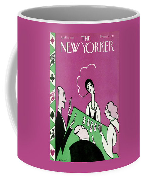 Deco Cards Gambling Game Cigarette Smoking Women Men Man Woman Table Tuxedo Suit Pink Green Necklace Coffee Mug featuring the painting New Yorker April 10th, 1926 by H O Hofman