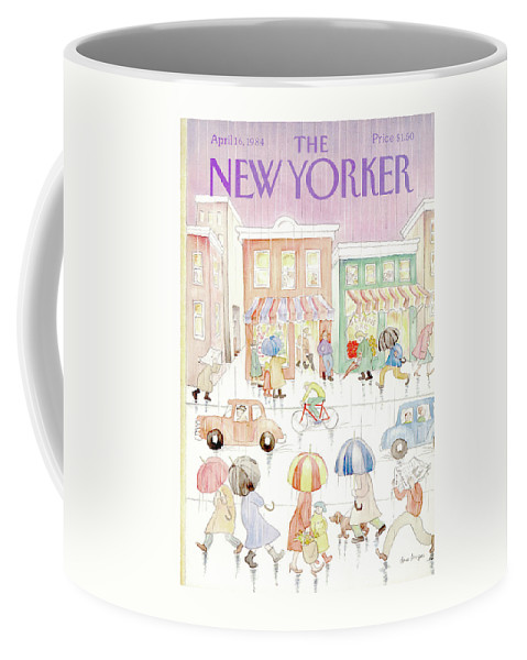 Rain Coffee Mug featuring the painting New Yorker April 16th, 1984 by Anne Burgess