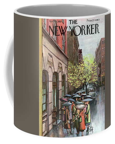 Urban City Manhattan New York City Skyscraper Skyscrapers   Skyline Cityscape River Brooklyn Bronx Queens Staten Island Uptown Upper West East Side Rain Raining Shower Umbrella Storm Weather Arthur Getz Agt Sumnerok Artkey 49194 Coffee Mug featuring the painting New Yorker April 21st, 1951 by Arthur Getz
