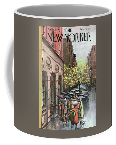Urban Coffee Mug featuring the painting New Yorker April 21st, 1951 by Arthur Getz