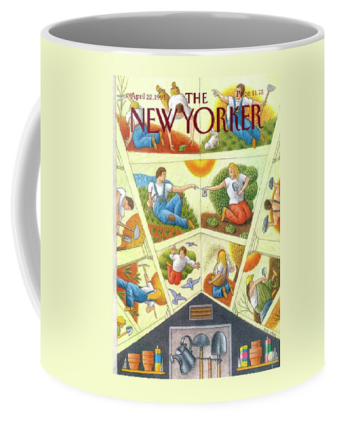 Household Chores Coffee Mug featuring the painting New Yorker April 22nd, 1991 by Bob Knox