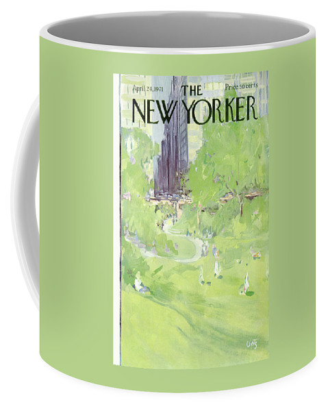 Urban Coffee Mug featuring the painting New Yorker April 24th, 1971 by Arthur Getz