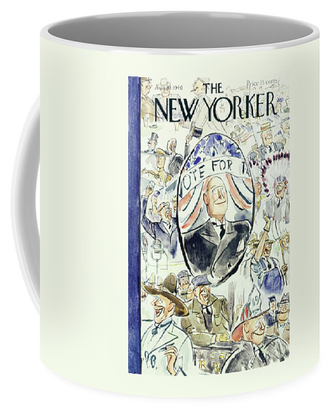 Political Coffee Mug featuring the painting New Yorker August 10 1940 by Perry Barlow