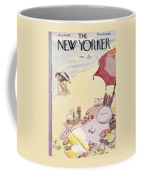 Coast Coffee Mug featuring the painting New Yorker August 14, 1937 by Helen E Hokinson
